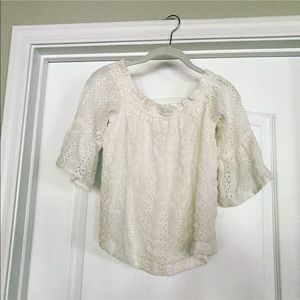 Anthropologie embroidered off the shoulder top